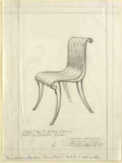 Vertical rectangle, ruled borders in graphite. Design for metal garden chair with curving legs, the seat and splat made up of vertical curving pieces of metal curling over the top and bottom edges; design shown in three quarter front view. Graphite inscriptions below.