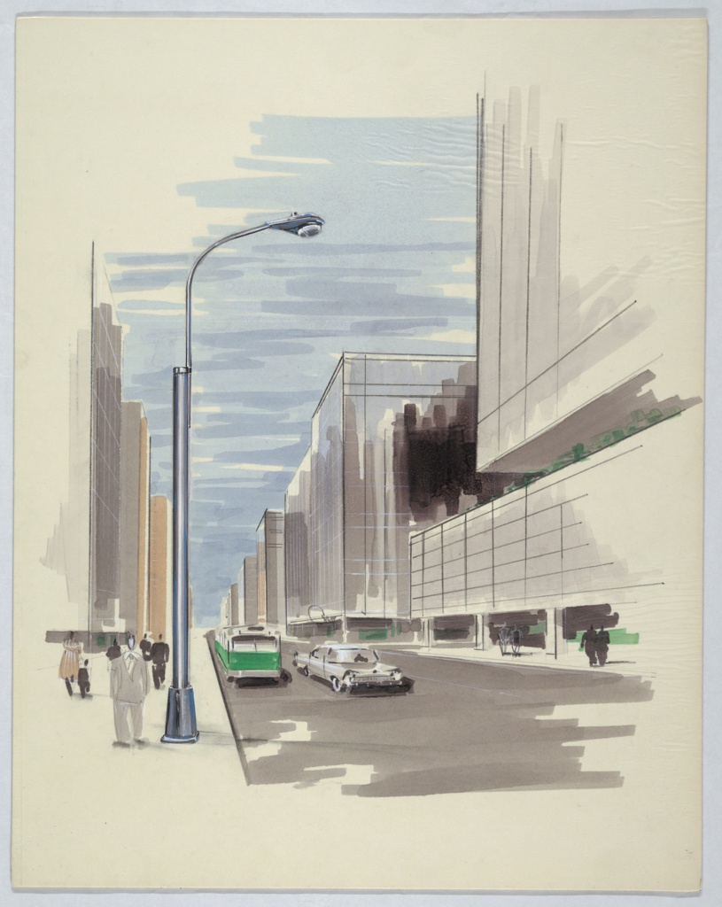 """Perspective view of city street featuring Type 10 """"HPS Cobra Head luminaire"""" lamp post, seen at left. Street scene with green bus and silver automobile on road and pedestrians on left and right sidewalks. On either side of street are tall buildings; at left is metal-and-glass office building (reminiscent of Lever House). At left, cylindrical lamp post extends from upward-tapering base from which curved arm bends to extend light fixture over street."""