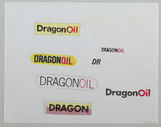 "Six designs for DragonOil in black, red and yellow arranged randomly on the sheet (two oval, one rectangular, one three-dimensional rectangular, two text only). At center in black ""DR"". Markers applied to verso of sheet."