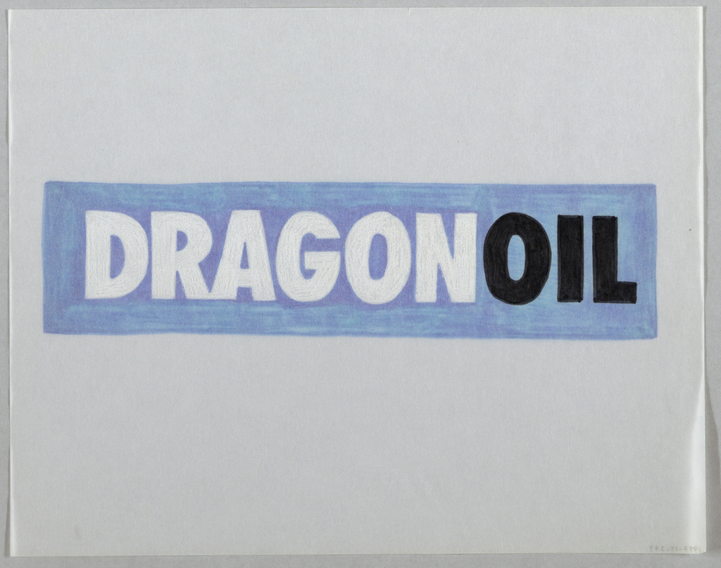 Design for a logo. The word DRAGONOIL in thick, san-serif block capital letters placed on blue rectangle in center of sheet. The word Dragon in white, Oil in black. Blue marker applied on verso of sheet.