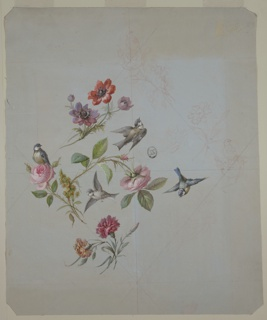 Diamond-shaped compostion of  flowers: red and purple at top, pink roses at center, pink and orange carnations at bottom, all with stems and foliage.Three birds in flight at right and center, one bird at left rests atop a pink rose. 