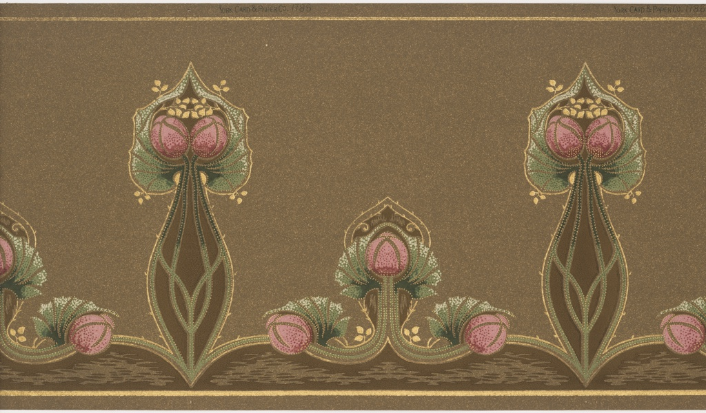 Large-scale stylized floral motif, alternating with three smaller flower buds. There is a scalloped band along the bottom edge. Printed in red, white, green yellow and brown on brown oatmeal paper.