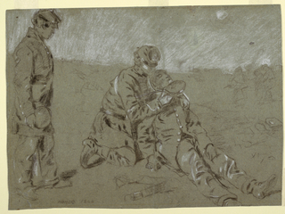 Recto: Horizontal view of a soldier kneeling beside a wounded companion, holding his head, and giving him a drink from a canteen, as a third soldier stands and watches at left foreground; a faintly drawn group appears in right background.  Verso: A drill ground.