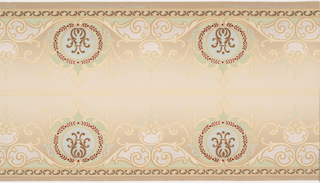 Rounded scrolled medallions containing anthemions. Printed in green, cream, turquoise blue, on gradient cream and beige ground. Two borders printed across the width.