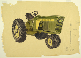 Detailed drawing of John Deere tractor with views of front and side screens.