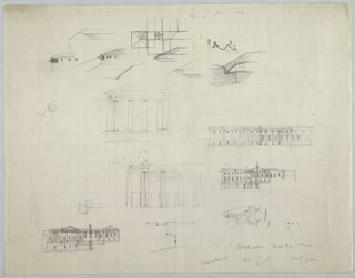 Architectural drawing depicting several sketches of designs for a building, including plan and elevation views with details of columns as well as overall facade studies.