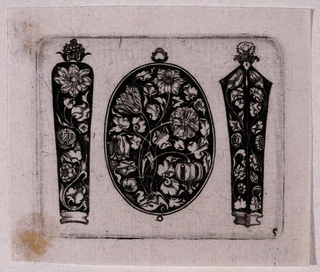 Three separate white on black designs for an oval fillet or pendant flanked by what are believed to be needle cases.  The pendant is ornamented with an asymmetrical spray of tulips and leaves supported by swaying stems. The needle case on the left is also ornamented with a curving stem ending in a large florette. A crown of flowers tops the case. On the right, two sides of a four sided case is shown with a bilaterally symmetric floral design of stems and buds. The case is topped with a   flower and a crown.
