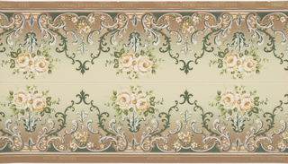 Two bands of mirror-reversed repeating design of a flower bouquet supported by a fleur-de-lis bridged between a bell-like acanthus leaf design having acanthus and flower interior decoration on a ground which becomes darker towards the base, separated and bordered by thin horizontal strips. Printed in greens, white, cream, gold, mica and brown.