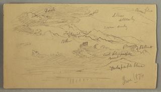 Verso: clouds, mountain ridges