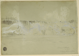Recto: Horizontal view of the American Falls in snow, shown from the northwest. Verso:  Horzontal view at center right of the southern end of the American Falls with the edge of Goat Island, shown from beneath.