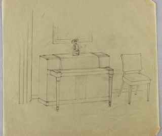 Drawing, Piano with tapered legs a