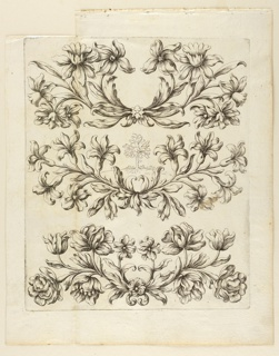 Three freizes, Flower boughs. Distant view of a tree in the center of the central frieze.