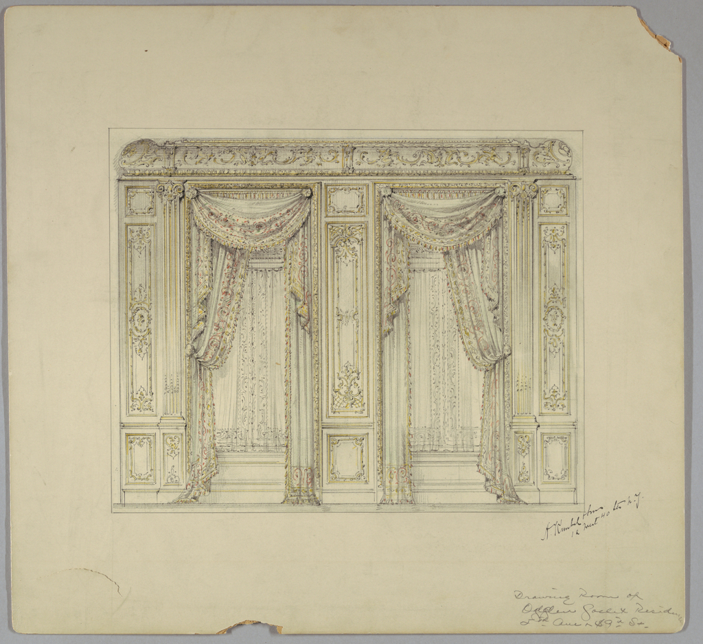 Drawing, Drawing Room Wall Elevation, Ogden Goelet Residence, Fifth Avenue and 89th Street, 19th–20th century