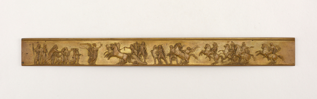 Horizontal rectangle, with figures after the Panathenaic Procession in the frieze of the Parthenon.