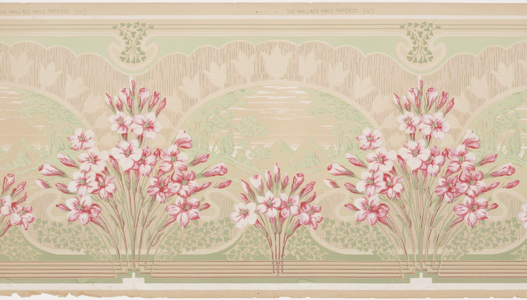 Landscape scenes set within an arched framework.  Row of stylized tulips above arch. Floral bouquets in front, alternating large and small. Printed in red, green and white on ungrounded paper.