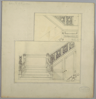 Drawing, Staircase with Griffin Balusters, 19th–20th century