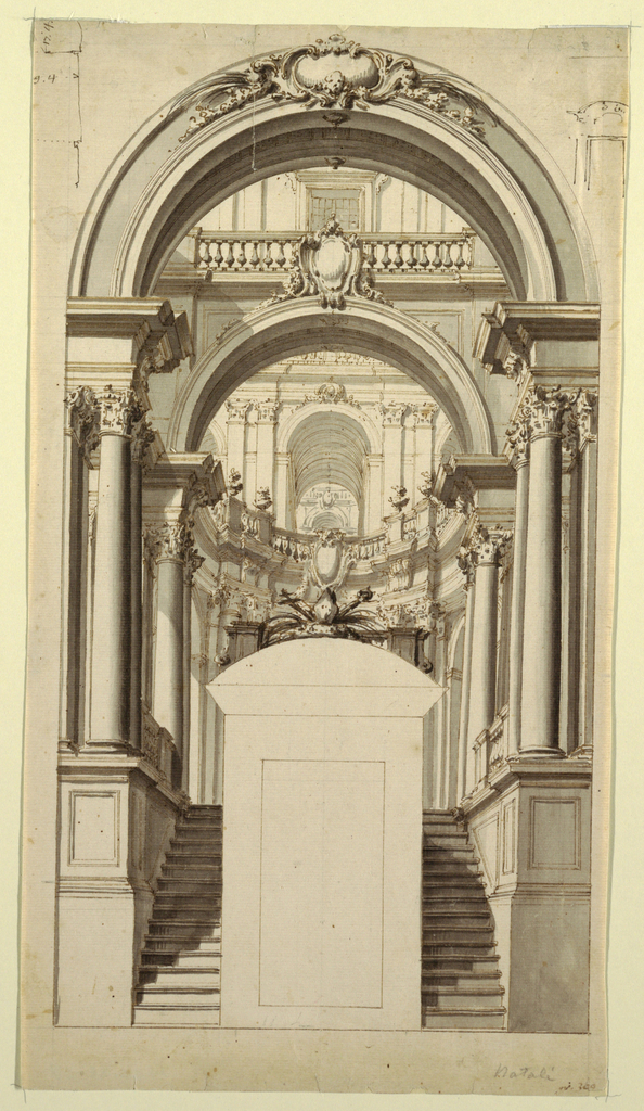 Drawing, Staircase to Arcade in Bishop's Palace