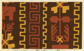 Brown ground with greek key motif in burnt orange with a toothed border in yellow, alternating with angular leaf motifs in burnt orange and yellow.