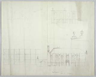 Architectural drawing depicting plan and elevation views of a building with an arched entryway at the left side. Ornamental details shown at center right. Illegible graphite inscription at lower right.