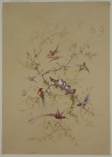 Branches with foliage, berries and birds perched and flying around them. Composition organized in a vertical oval shape.