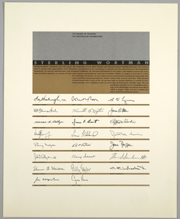 Rectangle of gray and brown, bisected with band of black with Sterling Wortmen in full justification printed in gray. Black text on brown. Below, reproduction of the signatures of individual trustees separated by brown bands.