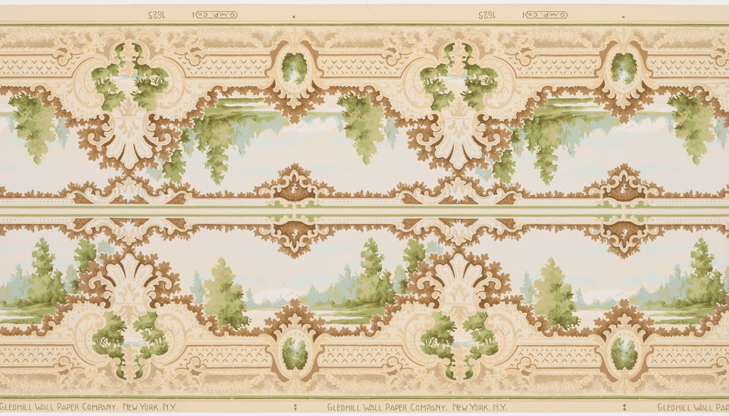 Two bands of a mirror-reversed repeating design composed of landscape vistas. Bordered on the bottom by a thick row of foliated-ornamented alternating cameos containing landscape designs, and on the top by a complementary foliage-ornamented frieze. Printed in cream, gold, white, brown, white, greens and light blue.