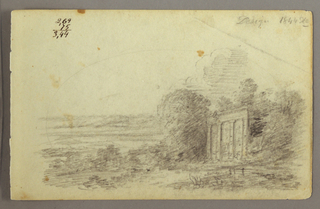 Drawing, Classical Ruin, Trees, 1844
