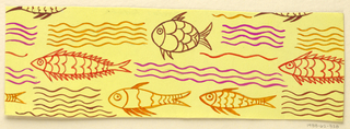 Yellow ground with pattern of orange and maroon fish and waves.