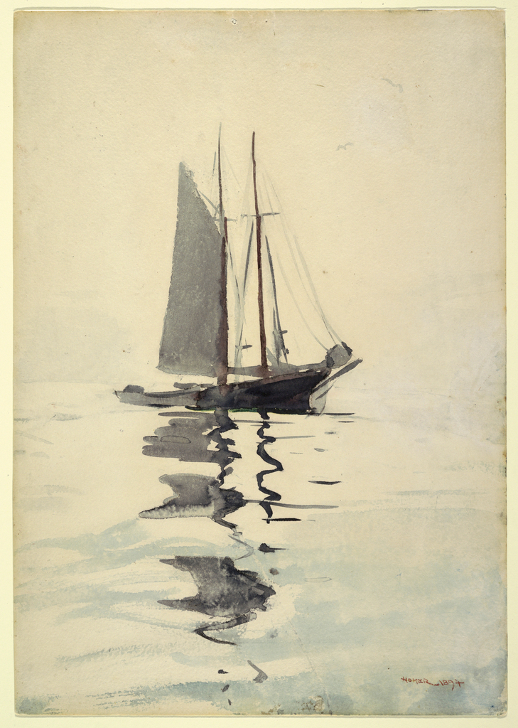 Vertical view of a two-masted schooner, with a dory, characterized by a pale wash on sky and reflections of masts and the sail in the water.