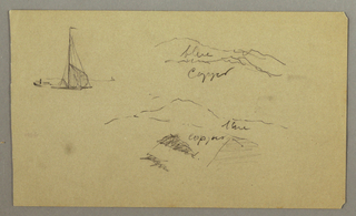 Drawing, Sailbot, mountains, possibly 1865–66
