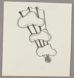 Drawing, Three fluid forms on a br