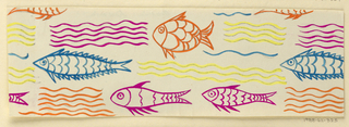 Cream ground with pattern of orange, blue, yellow, and pink fish and waves.