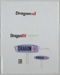 DragonOil in black and red repeated four times on sheet (TC,LC,BC,LR) The two lower logos appear to be for billboards. Blue marker applied to verso of sheet.