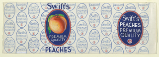 Product label for peaches with oval logos and a large peach.