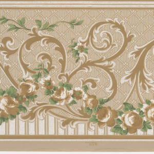 Two bands of repeating design which proceed in opposite directions and which are reversed, consisting of a scrolling acanthus design with floral swags at its base and divided further at the base by vertical compartment on a ground of diamonds having vertical lines bordered and separated by horizontal bands. Printed in white, green, taupe, browns and mica.