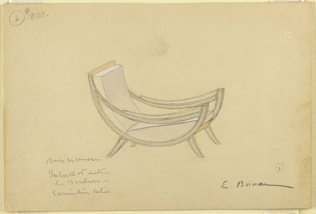 Drawing, Design for Armchair in Sycamore Wood