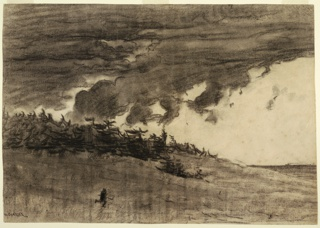 Horizontal view of a heavily clouded sky, flat sea, shore with pine trees and a man running.