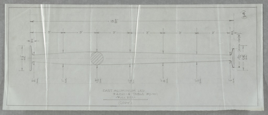 Design for table leg in cast aluminum for Charak Furniture Company. Full-scale elevation shows leg tapering at both top and bottom, terminating at either end in flat disc-shaped foot.