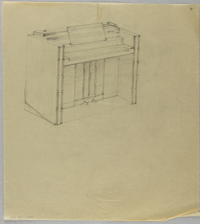 Drawing, Piano with folded-back to