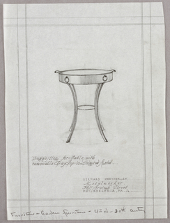 Vertical rectangle, ruled borders in graphite, irregular right edge. At center, elevation for a metal circular table with four curving legs, joined together by a metal ring with spiraling decoration at half-height. Removable tray tabletop has curving pointed handles at left and right sides and two metal rings with spiraling motif decorating the edge. Graphite inscriptions below.