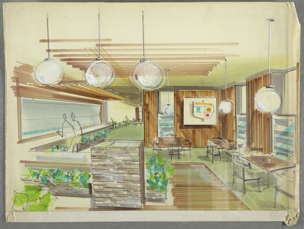 1950s interior design. Drawing, Cafeteria Interior With Seating, Ca. 1950s\u201360s 1950s Design
