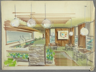 Drawing, Cafeteria Interior with Seating, ca. 1950s–60s