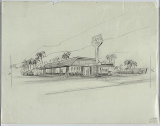 "Exterior perspective rendering for Bordon Company's Elsie's Restaurant. Single-story, double-height structure with flat roof whose wide eaves slope acutely downward. Six horizontal beams span the structure's width, terminating in slender vertical light posts topped by spherical fixtures. Façade is glass and flagstone. Carport over entry portal with flat roof and upward-angled eaves inverts the structure of the main roof. A horizontal element underlines a rounded rectangular ""Elsie's"" sign and bends up vertically through the carport, culminating in a spade-shaped sign bearing Bordon's brand mascot Elsie. Landscape is tropical with palm trees and succulents."