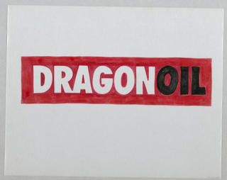 Design for logo. The word DRAGONOIL in thick, san-serif block capital letters placed on red rectangle in center of sheet. The word dragon is formated by the white of the paper outlined by red. the word oil is in black. The red marker is applied t the verso of the sheet.
