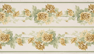 yellow roses in clusters at regualr intervals along length of a single stem. Narrow solid band or stripe at either edge of both borders. Printed in white, greens, cream, ivory, khaki, and brown. Two borders printed across the width.