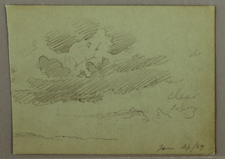Drawing, Sun ray behind clouds, September 1869