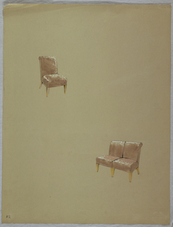 Drawing, Chair and double chair, s