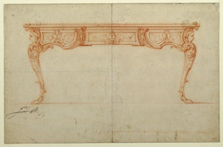 Flat writing desk with scrolled legs composed of lions feet.  Women's heads with wings support desk top.  Front panel consisting of central drawer divided from side panels by symetrically placed C-scrolls decorated with acanthus leaves.