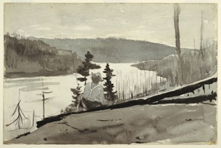 Recto: Horizontal view of a sloping hill with man, seen from behind, seated on two fallen pine tree trunks and also framed by two live pine trees in center foreground, before a vista filled by a mountain river (or lake) surrounded by hills covered with burned trees.   Verso: Patches of various colors.