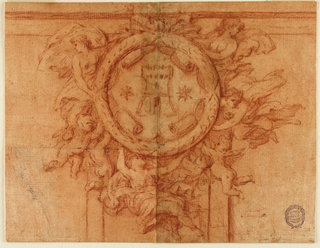 Very similar to drawing in -1783. Four female figures surround a circular medallion decorated with a coat of arms, a tower between two stars. Four putti support the medallion.